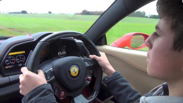 The mystery of how a 14-year-old boy gets to drive a Ferrari 458 Italia