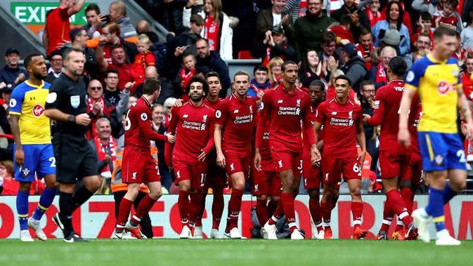 Liverpool menang tiga gol tanpa balas atas Southampton pada laga pekan keenam Premier League, di Stadion Anfield, Sabtu (22/9/2018) malam WIB. (Dave Thompson/PA via AP)