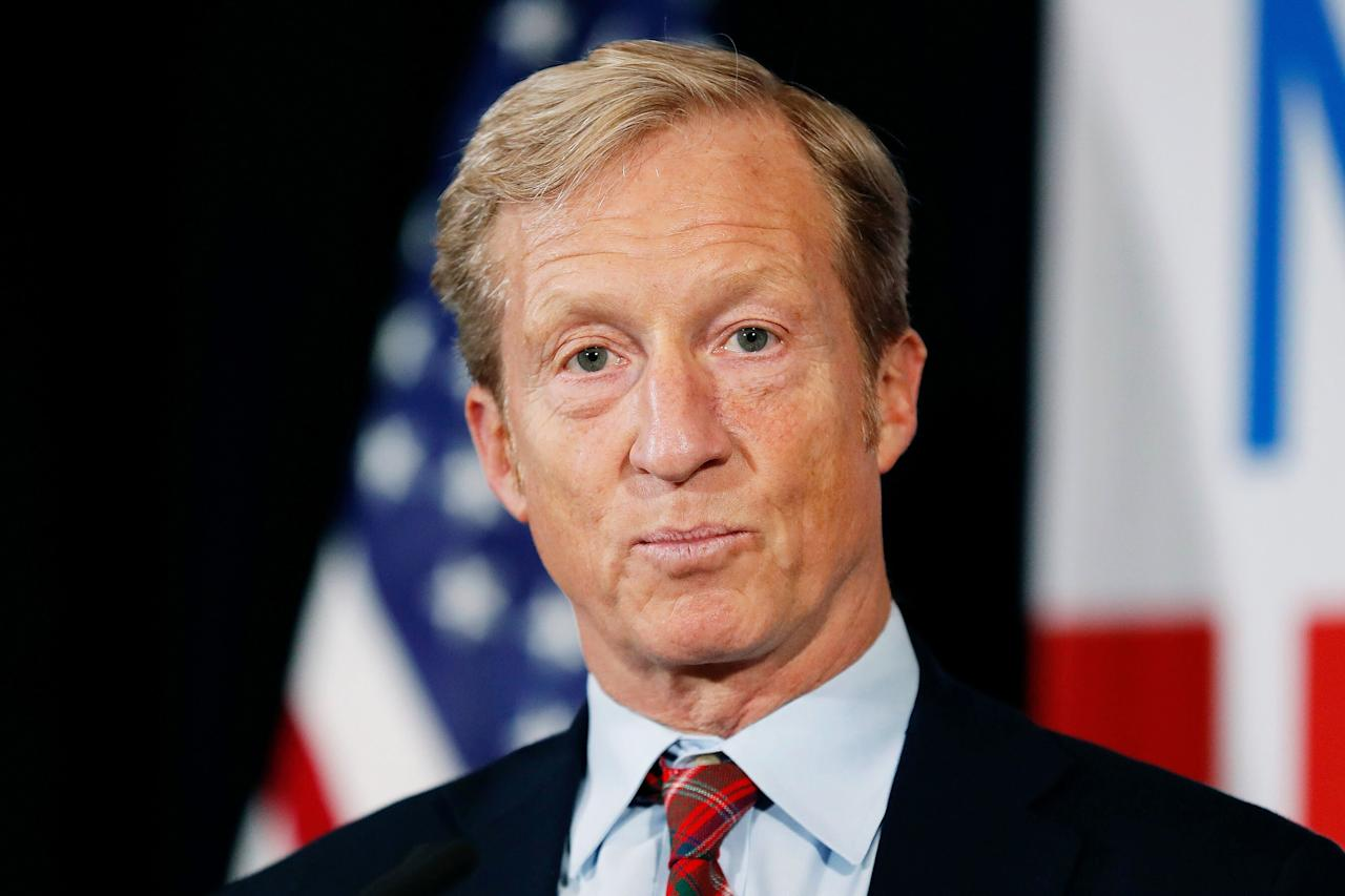 """Steyer, a 62-year-old billionaire investor, Democratic donor and activist, first announced on July 9 that he would run for president — committing tens of millions of his personal fortune to the effort.  It was for naught: His best hope was breaking through in South Carolina, where he spent much of his time and had made some impression on the state's largely black electorate. But after former Vice President Joe Biden's double-digit victory in the primary there on Feb. 29, he dropped out.  """"There's no question today that this campaign, we were disappointed with where we came out,"""" Steyer <a href=""""https://www.nbcnews.com/politics/2020-election/billionaire-tom-steyer-quits-democratic-primary-race-n1146286"""" target=""""_blank"""">told supporters</a> late Saturday. """"But I said if I didn't see a path to winning that I'd suspend my campaign, and honestly I can't see a path where I can win the presidency.""""  Before entering the race, Steyer had most recently generated headlines <a href=""""https://www.nytimes.com/2018/01/23/us/politics/impeach-trump-democrats-tom-steyer.html"""" target=""""_blank"""">as a loud voice</a> for President Trump's impeachment  """"Almost every single major intractable problem, at the back of it, you see a big money interest for whom stoping progress, stoping justice, is really important to their bottom line,"""" Steyer said in <a href=""""https://www.youtube.com/watch?v=Q0pFvLtryd0"""">his announcement video</a>. He focused on issues of economic inequality and widespread corporate dysfunction in public life."""