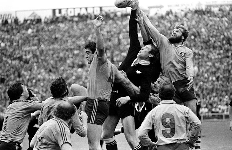 Haden gets his hand to the ball at a line-out against Australia at Eden Park, Auckland, in 1978 - NZ Herald via AP