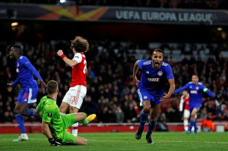 Moroccan striker Youssef El-Arabi celebrates the Olympiakos winner after 120 minutes at Arsenal