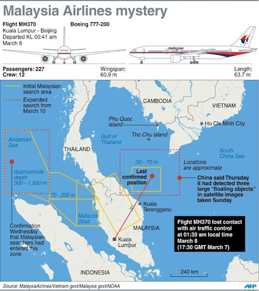 Updated graphic of the search area for missing Malaysia Airlines MH370 adds approximate location of possible debris spotted in Chinese satellite images on March 9