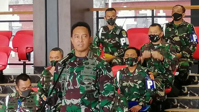 Kepala Staf TNI Angkatan Darat (KSAD) Jenderal TNI Andika Perkasa Saat Memberikan Konferensi Pers Terkait Penyerangan Polsek Ciracas. (foto: Dokumentasi Mabes AD).