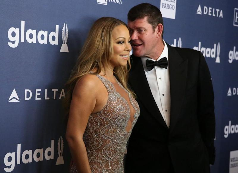 Mariah Carey and James Packer arrive for the 27th Annual GLAAD Media Awards at The Waldorf=Astoria on May 14, 2016 in New York City. Source: Getty