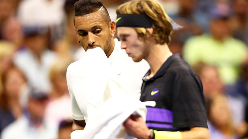 Nick Kyrgios, pictured here during his US Open clash with Andrey Rublev.