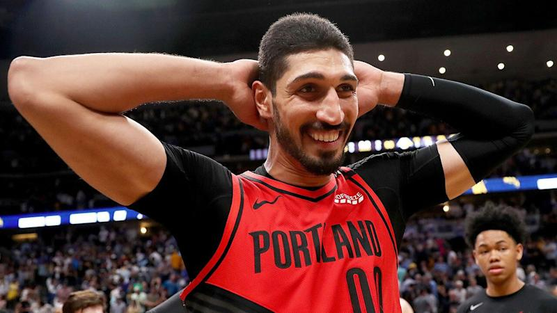 The FBI installed a panic button next to Kanter's bed in case of any threats against the NBA star. Pic: Getty