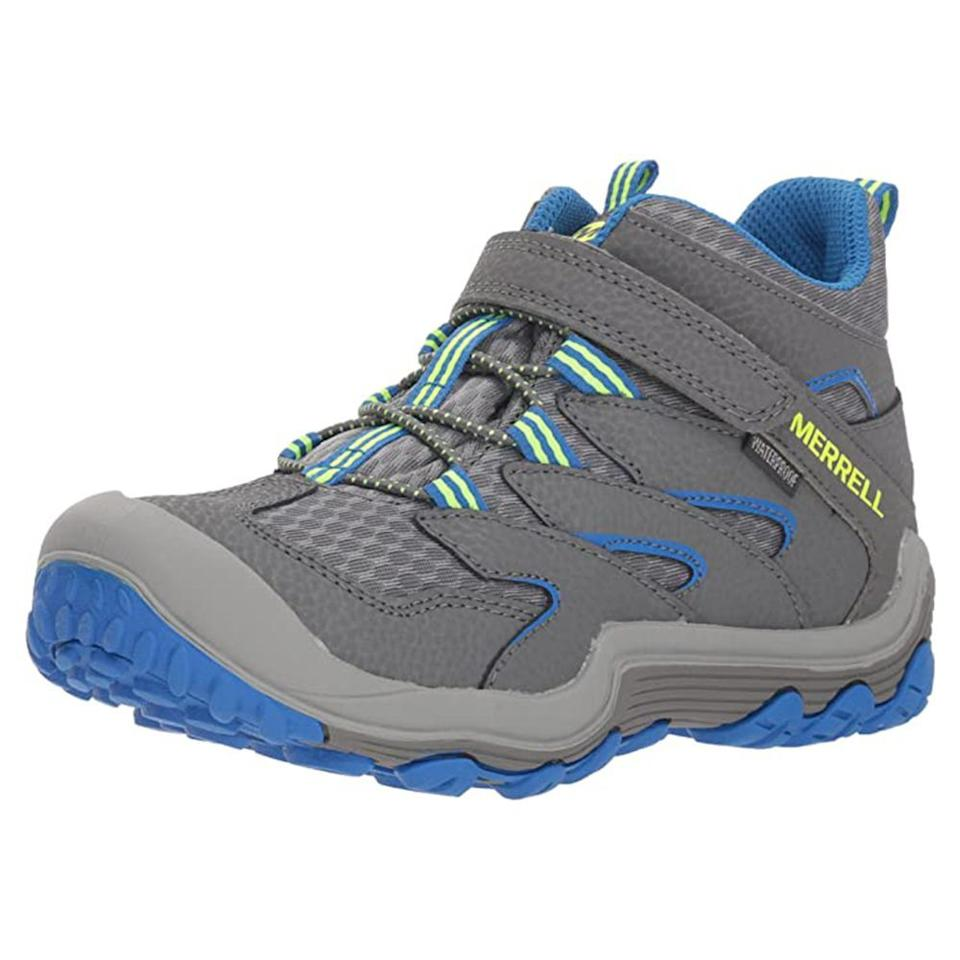 """<p><strong>Merrell</strong></p><p>amazon.com</p><p><strong>$50.85</strong></p><p><a href=""""https://www.amazon.com/dp/B077TNWK72?tag=syn-yahoo-20&ascsubtag=%5Bartid%7C2089.g.32894824%5Bsrc%7Cyahoo-us"""" target=""""_blank"""">Shop Now</a></p><p>Your junior explorer will be ready to tackle the trails with these comfortable hiking boots. Made of a super lightweight leather and synthetic blend, your child won't feel like they are lugging around bricks on their feet. </p><p>Drizzling weather and splash-worthy puddles won't get in the way of your hike, as these hiking shoes are totally waterproof and keep your little one's feet dry.</p>"""