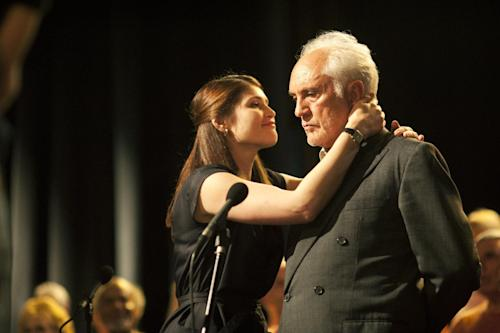 "FILE - This publicity photo released by The Weinstein Company shows Gemma Arterton, left, and Terence Stamp in a scene from the film, ""Unfinished Song."" (AP Photo/The Weinstein Company, Nick Wall)"