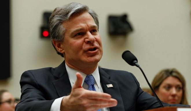 "FBI Director Christopher Wray (shown on Tuesday) spoke along with Attorney General William Barr and called the Chinese threat ""diverse and multilayered"". Photo: Reuters"