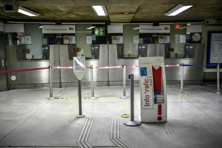 Closed ticket counters at the Gare Montparnasse train station in Paris, on the 29th day of a strike against the government's pensions overhaul