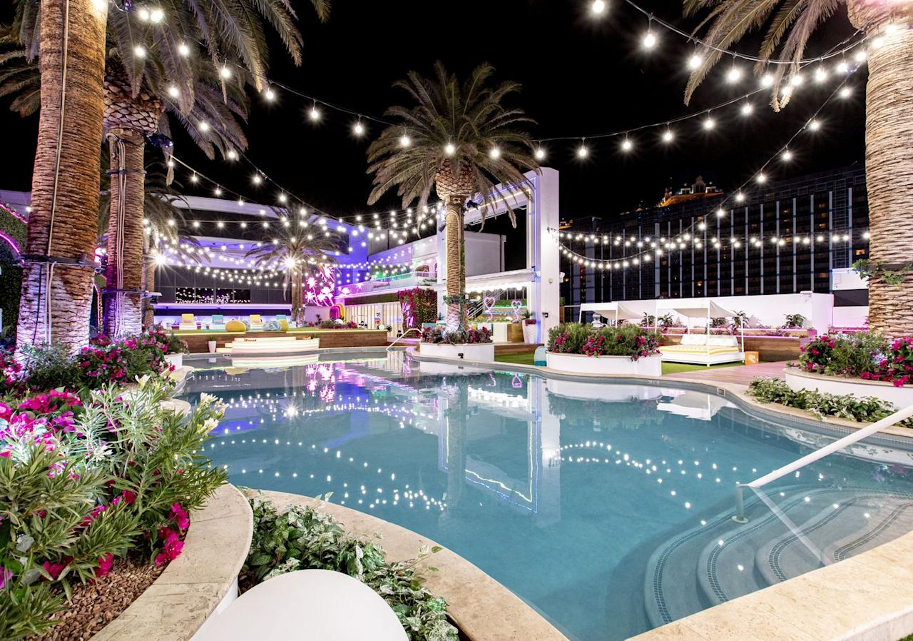 <p>The palm trees give the Vegas villa a tropical touch.  </p>
