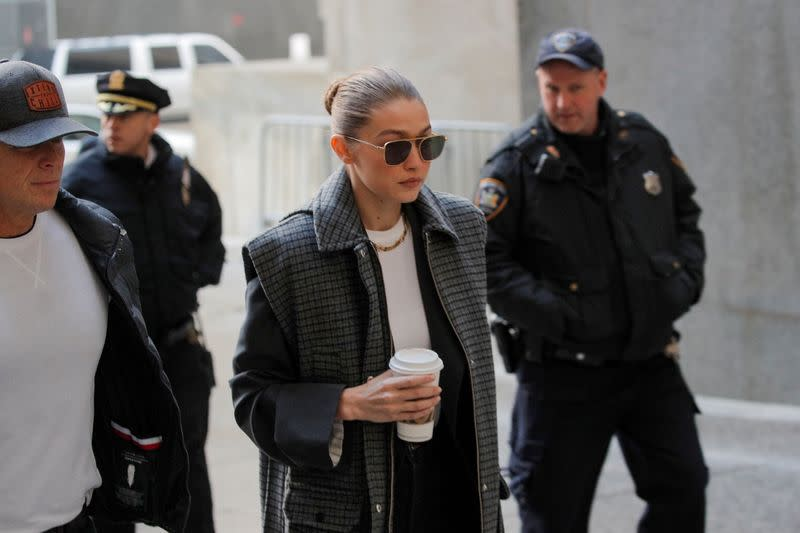 Model Gigi Hadid arrives for jury duty at the New York Criminal Court in the Manhattan borough of New York