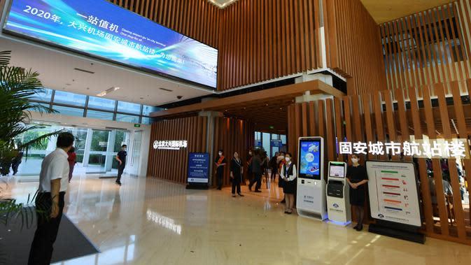 Penampakan Terminal Kota Gu'an Bandara Internasional Daxing Beijing di Wilayah Gu'an, Provinsi Hebei, China, 16 September 2020. Di terminal ini, para penumpang dapat menggunakan layanan bus bandara menuju Bandara Internasional Daxing Beijing. (Xinhua/Zhang Chenlin)