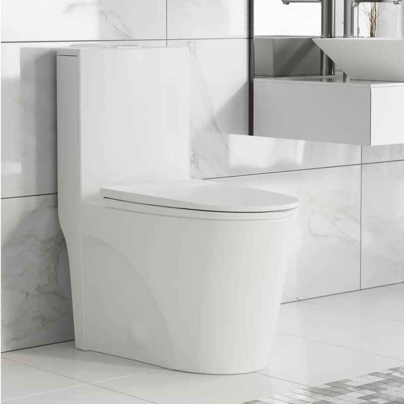 St. Tropez Dual-Flush Elongated One-Piece Toilet. Image via Wayfair.