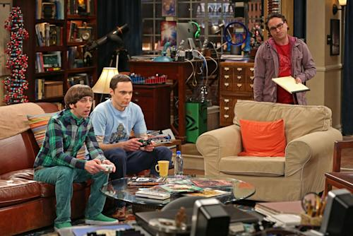 "This undated publicity image released by CBS shows, from left, Simon Helberg, Jim Parsons, and Johnny Galecki in a scene from ""The Big Bang Theory."" For the 10th time in 11 years, CBS was the nation's most-watched network, the Nielsen company said Thursday, May 23, 2013. TV's top comedy is ""The Big Bang Theory"" on CBS, averaging 15.6 million viewers per week. (AP Photo/CBS, Michael Yarish, File)"