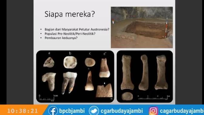 Tangkapan layar materi pemaparan hasil penelitian di kawasan Bukit Bulan, Sarolangun, Jambi. Pemaparan penelitian dengan judul
