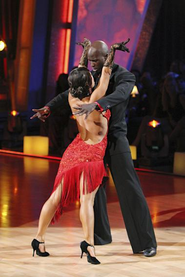 "Chad Ochocinco and Cheryl Burke perform on ""Dancing with the Stars."""