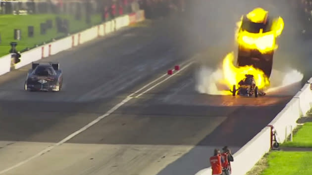 Drag racer blows car up in fireball twice in one weekend — and wins both times