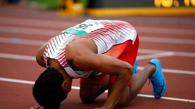 Lalu Mohammad Zohri usai merebut medali emas nomor lari 100 meter pada Kejuaraan Atletik Junior Dunia 2018 (Twitter IAAF)