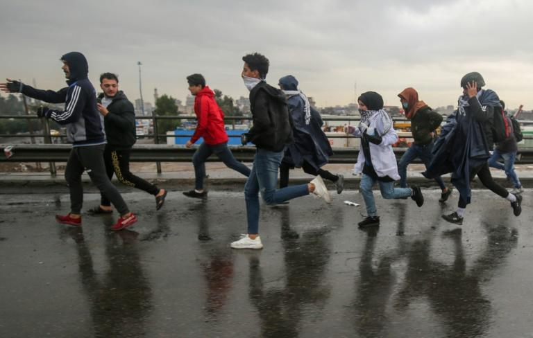 Iraqi protesters during ongoing demonstrations on Mohammad al-Qasim highway in east Baghdad on Wednesday