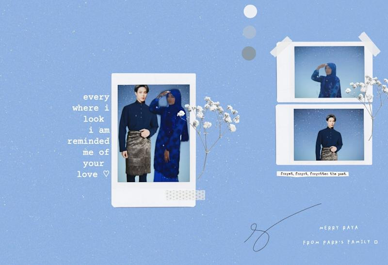 """Twitter user @mardibrighthere created a raya card featuring BTS member Jimin and herself. """"SHRMZDB FORM ME AND MY HUSBAND,"""" she tweeted. Photo: Twitter @mardibrighthere"""