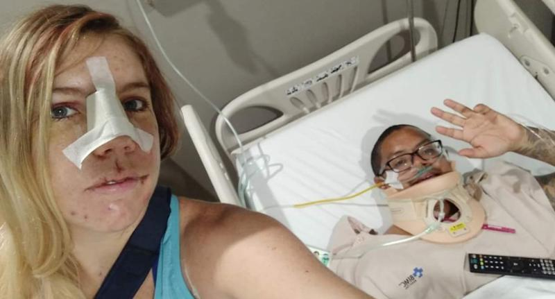 Stacey Eno (left) and Michael Lythcott (right) previously met in Thailand and had a scooter crash in Bali