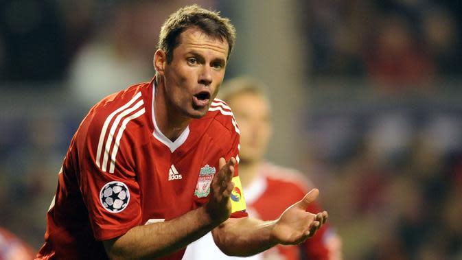 Jamie Carragher (7 gol bunuh diri) - Carragher memulai dan menghabiskan kariernya sepak bolanya bersama Liverpool. Bek asal Inggris ini pernah 7 kali melakukan gol bunuh diri di kompetisi Premier League. (AFP/Paul Ellis)