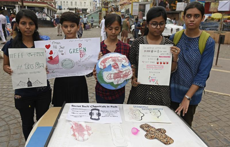 A scene from an awareness program conducted by People of Kolkata, for using eco-friendly menstrual cup instead of using sanitary napkins on 30 August, 2019. (Photo by Indranil Aditya/NurPhoto via Getty Images)