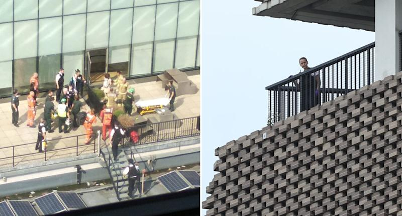 Emergency services on the scene at Tate Modern gallery, London, on Sunday. A boy, 6, was allegedly thrown from the 10th floor by another boy, 17. The child landed on the fifth floor roof. A police officer is also seen looking out from a balcony.
