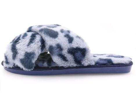 Topgalaxy.Z Fuzzy Slippers in blue leopard