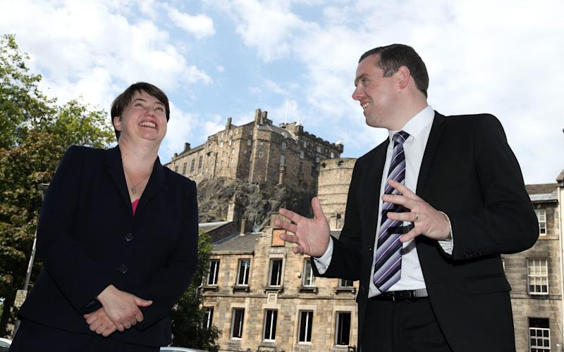 Douglas Ross with Ruth Davidson, who is returning to front line politics - temporarily - to help him - Andrew Milligan/PA`