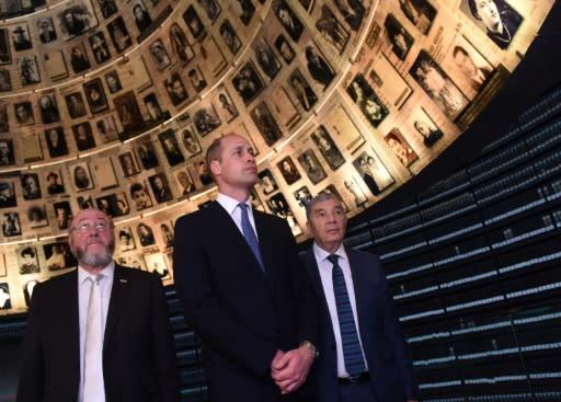 Britain's Prince William tours the Yad Vashem Holocaust memorial in Jerusalem on June 26, 2018