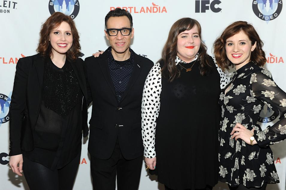 IMAGES DISTRIBUTED FOR IFC - Fred Armisen with SNL cast members Vanessa Bayer, Aidy Bryant and Noel Wells attend the Portlandia Season 4 Premiere Party on Thursday, February, 27, 2014 in New York. (Photo by Diane Bondareff/Invision for IFC/AP Images)
