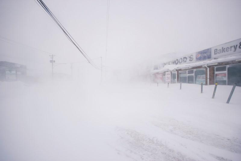 A snowy street is pictured in St. John's, Newfoundland and Labrador