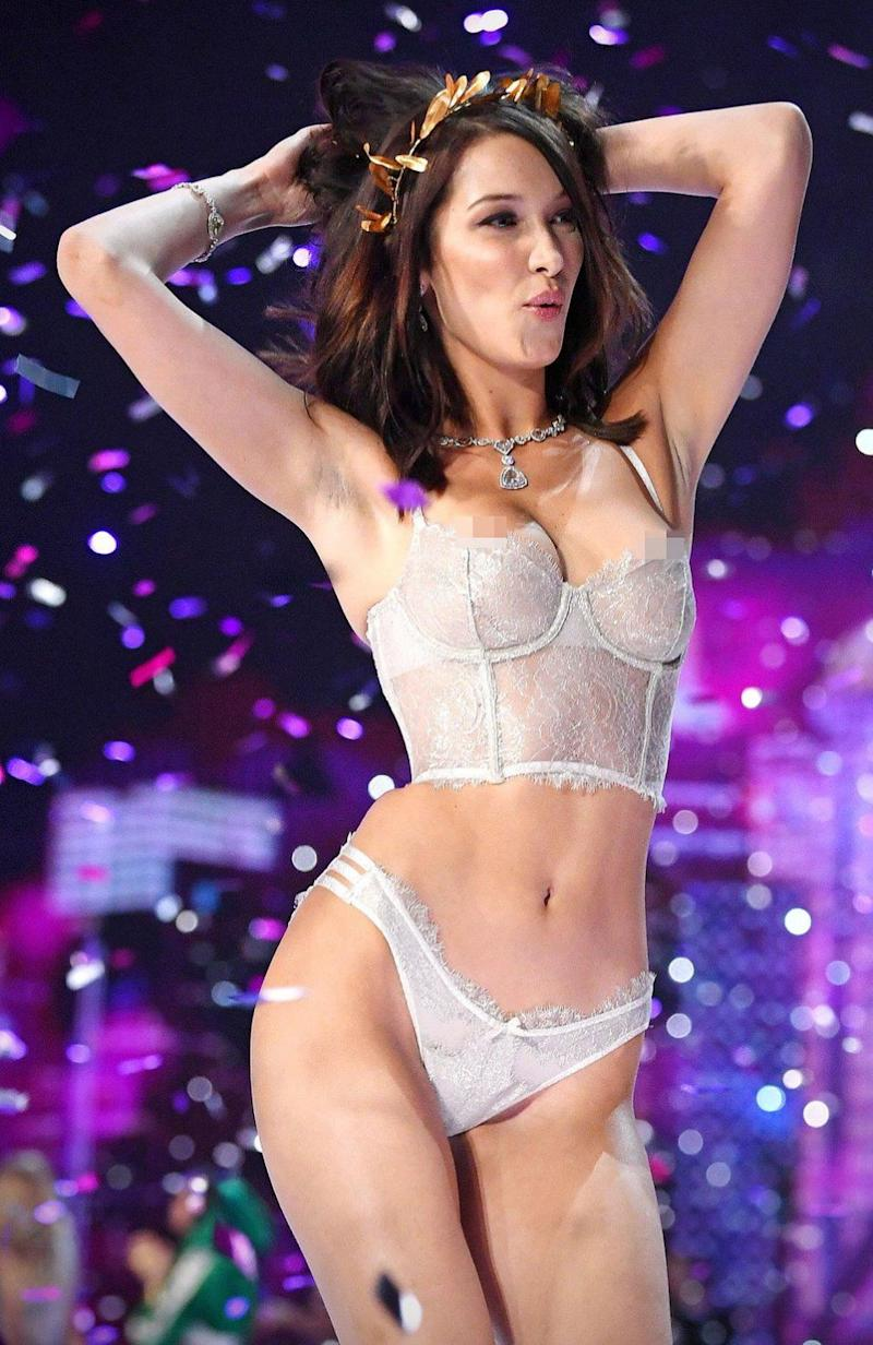 Bella suffered a similar wardrobe malfunction at Victoria's Secret Fashion Show in Shanghai last year. Source: Getty