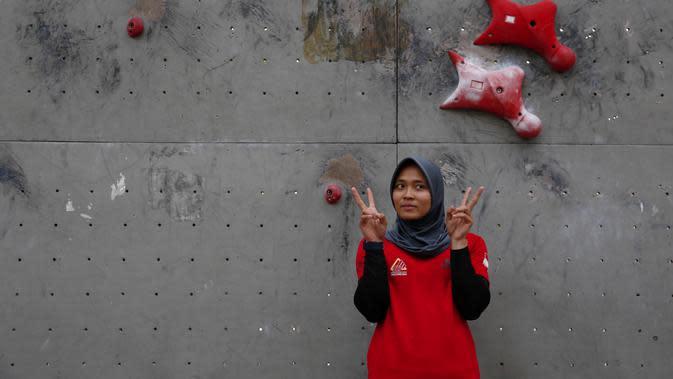 Atlet panjang tebing andalan Indonesia, Aries Susanti Rahayu. (Brilio.net/Ivanocich Aldino)