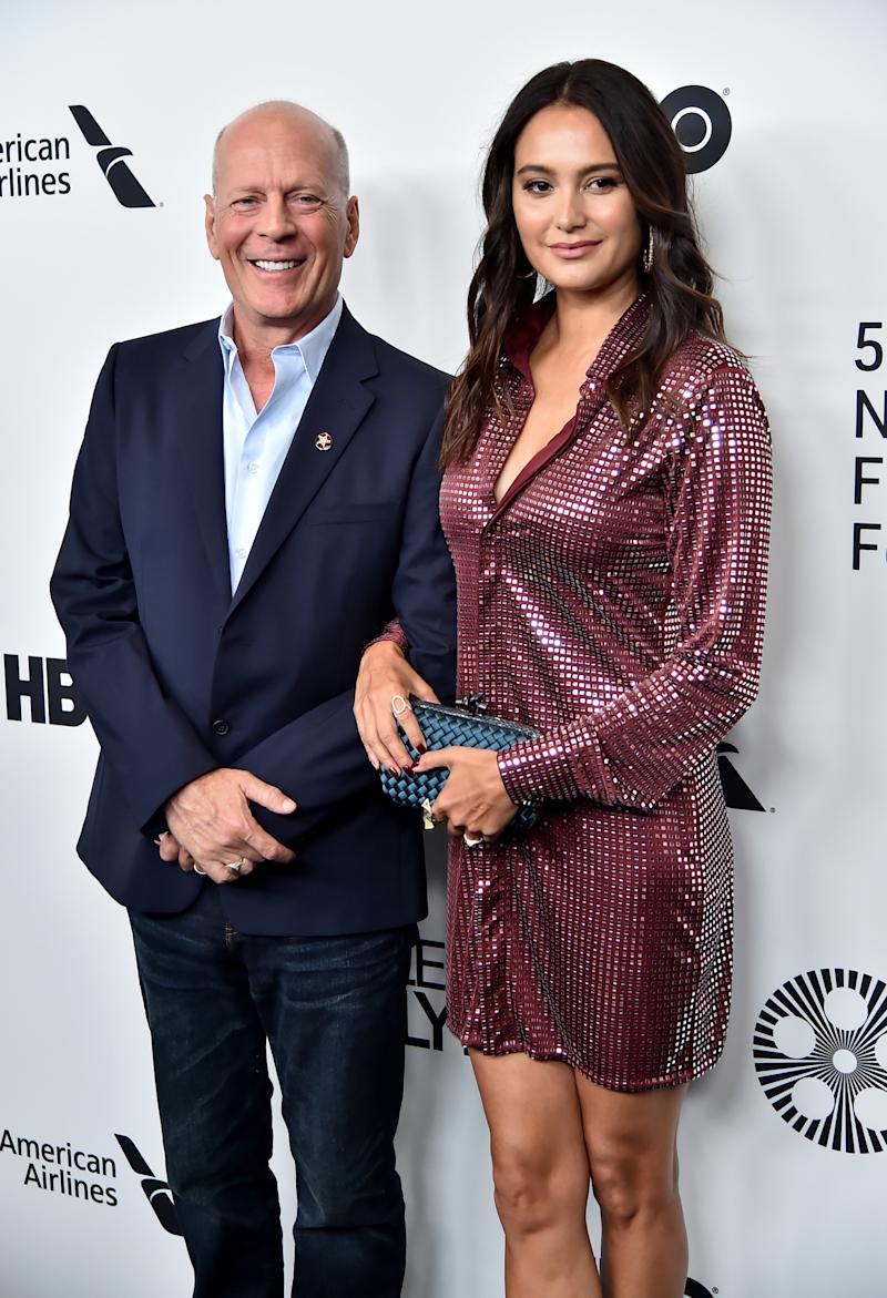 """Bruce Willis and wife Emma Heming Willis attend the """"Motherless Brooklyn"""" arrivals during the 57th New York Film Festival on October 11, 2019 in New York City. (Getty Images)"""
