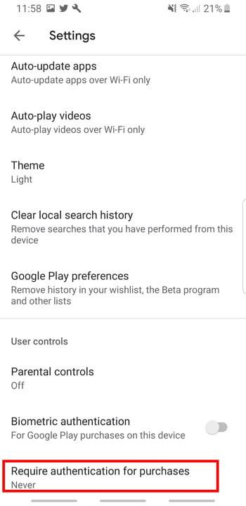Screenshot of Google Play Store Authenticate Purchases option