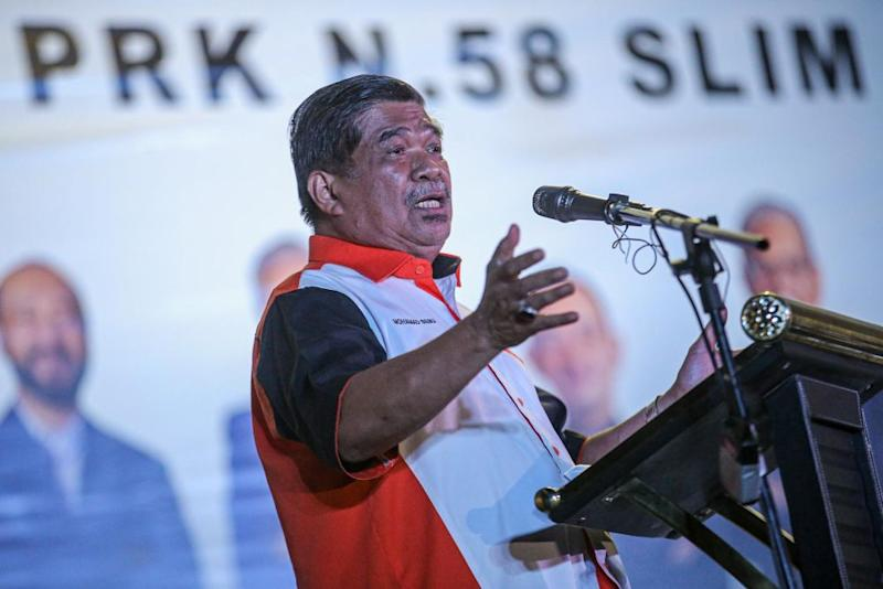 Amanah president Mohamad Sabu delivers a speech after the unveiling of Pejuang's candidate for the Slim by-election in Tanjung Malim August 12, 2020. — Picture by Hari Anggara