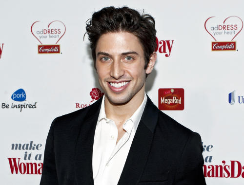 "FILE - This Feb. 15, 2012 file photo released by Campbell's shows actor Nick Adams at the Campbell's sponsored Women's Day Red Dress Awards in New York. Adams, Ashley Brown, Jessica Rush and Michael James Scott will lend their voices to a benefit production of Jason Robert Brown's ""Songs for a New World"" this spring.The four will appear in the one-night-only show on March 11 at XL Cabaret, west of Times Square. Jeff Calhoun will direct. (AP Photo/Campbell's, Brian Ach)"