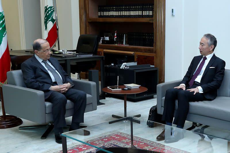 Lebanon's President Michel Aoun meets with Takeshi Okubo, Japanese ambassador in Lebanon at the Baabda palace