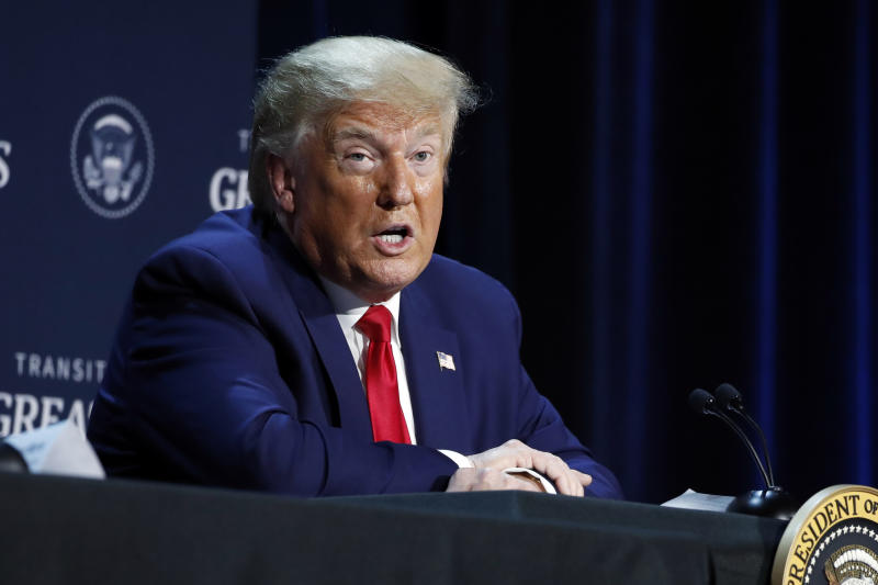 """President Donald Trump speaks during a roundtable discussion about """"Transition to Greatness: Restoring, Rebuilding, and Renewing,"""" at Gateway Church Dallas, Thursday, June 11, 2020, in Dallas.(AP Photo/Alex Brandon)"""