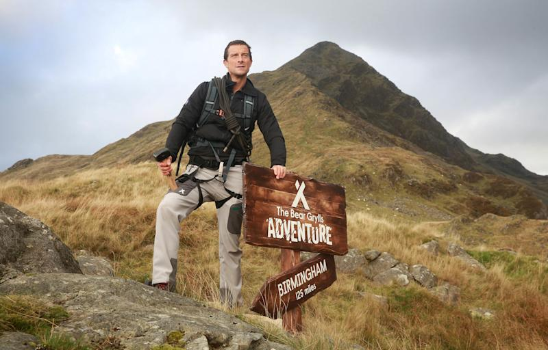 EDITORIAL USE ONLY Bear Grylls on his way up to the top of Cnicht in Snowdonia as Merlin Entertainment announces the launch of 'The Bear Grylls Adventure' - an indoor attraction due to open as a permanent feature at the NEC in 2018.