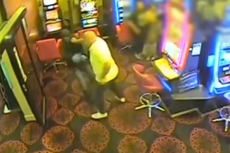 St Albans armed robbery: Dramatic footage shows a patron clashing with a bandit at a gaming venue on Clubhouse Place, St Albans.