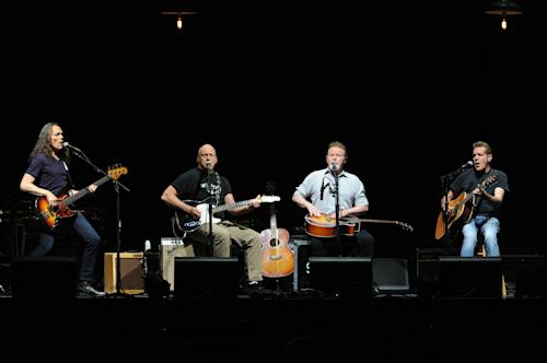The Eagles, from left, Timothy B. Schmit, Bernie Leadon, Don Henley and Glenn Frey, perform at Madison Square Garden on Friday, Nov. 8, 2013 in New York. (Photo by Evan Agostini/Invision/AP)
