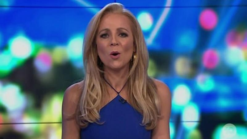 Carrie Bickmore forged ahead by reading The Project's autocue on Sunday night. Photo: Channel 10/The Project