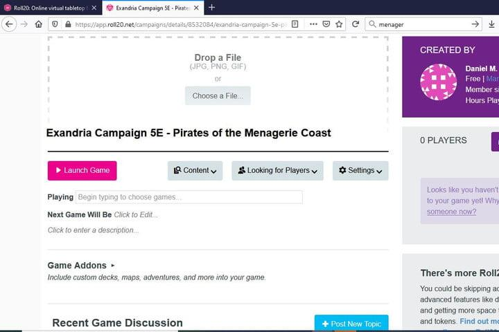 Image of Roll20 Campaign Homepage