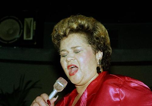 In this, April 6, 1987, photo, singer Etta James performs at the Vine St. Bar & Grill in Hollywood, Calif. The singer's manager says Etta James has died in Southern California. Lupe De Leon tells The Associated Press the singer died early Friday, Jan. 20, 2012 at Riverside Community Hospital. De Leon says the cause of death is complications of leukemia. (AP PhotoAlison Wise)