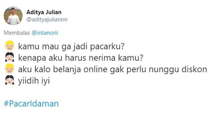 Chat nembak pacar (Sumber: Twitter/adityajuliannn)