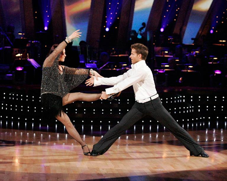 Priscilla Presley and Louis Van Amstel perform a dance on the sixth season of Dancing with the Stars.